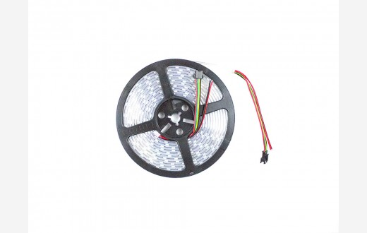 RGB Addressable LED Strip (APA102) White PCB - 60 pixels per meter - 5m reel