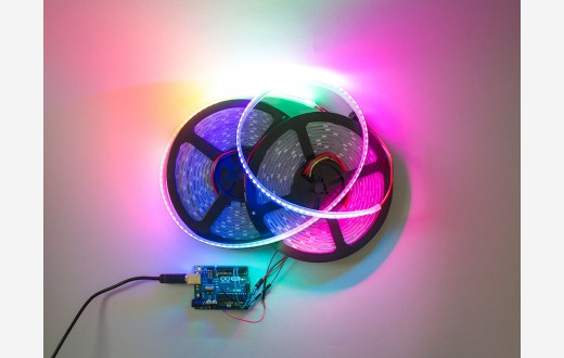 RGB Addressable LED Strip (APA102) White PCB - 144 pixels per meter - 1 meter reel