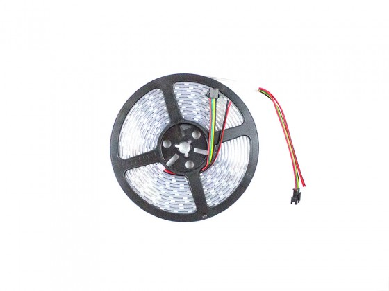 RGB Addressable LED Strip (APA102) White PCB - 60 pixels per meter - 5m reel
