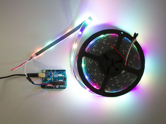 RGB Addressable LED Strip (SK6812) Black PCB weatherproof - 60 pixels per meter - 5m reel